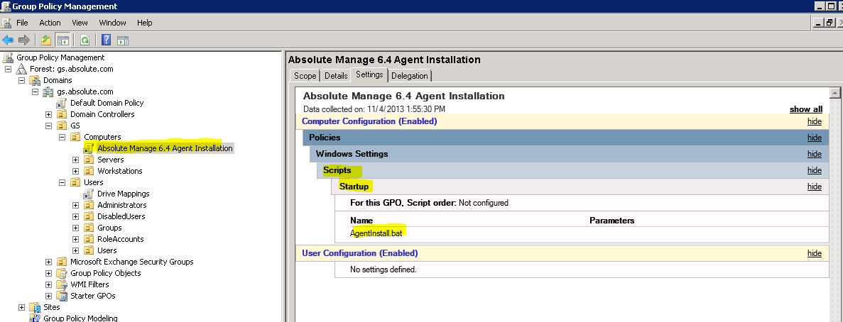 Deploy the Absolute Manage Agent using a GPO